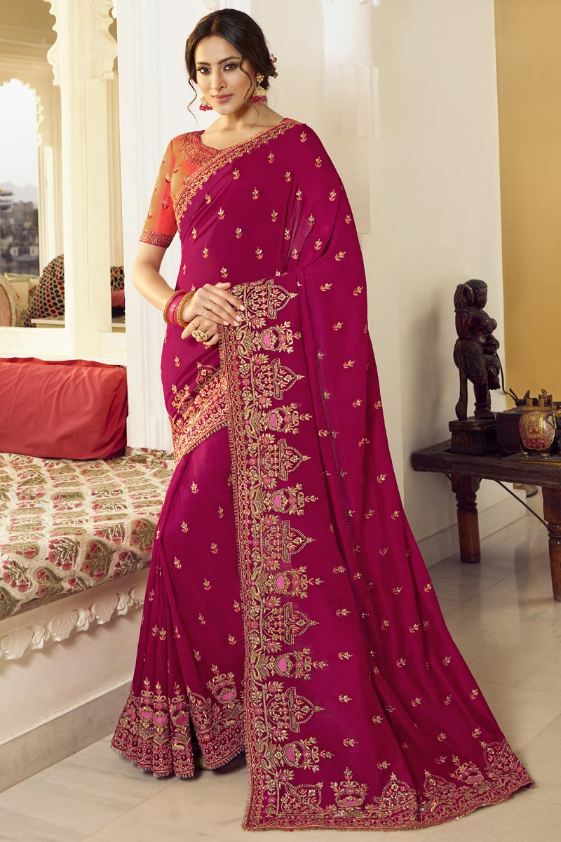 Party Style Art Silk Fabric Trendy Embroidered Saree In Dark Pink Color