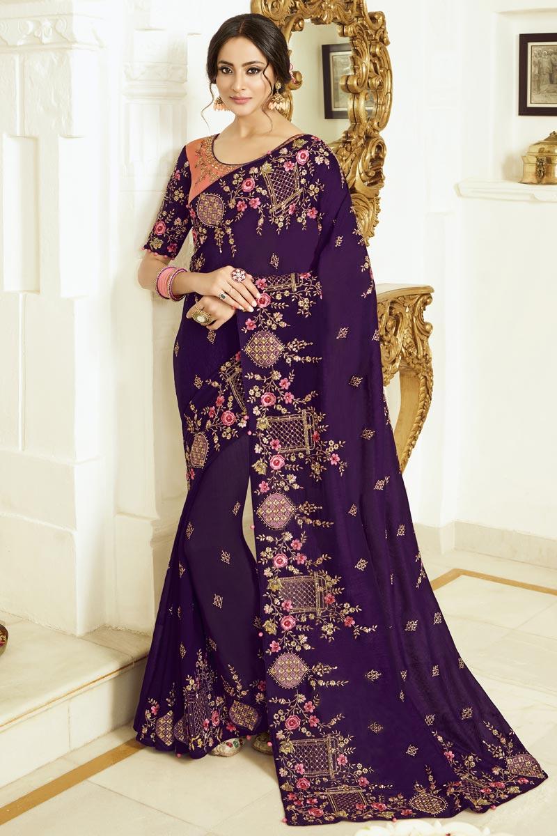 Party Style Purple Color Trendy Art Silk Fabric Embroidered Saree