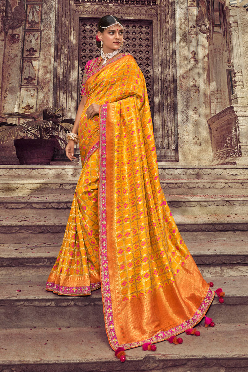Occasion Wear Art Silk Fabric Weaving Work Saree In Orange Color With Designer Blouse