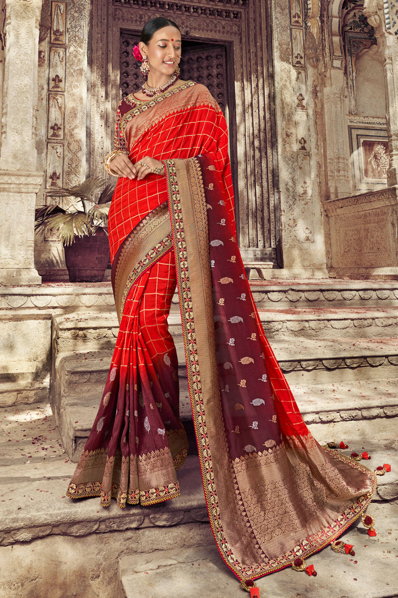 Art Silk Fabric Weaving Work Designs On Red Color Reception Wear Saree With Attractive Blouse