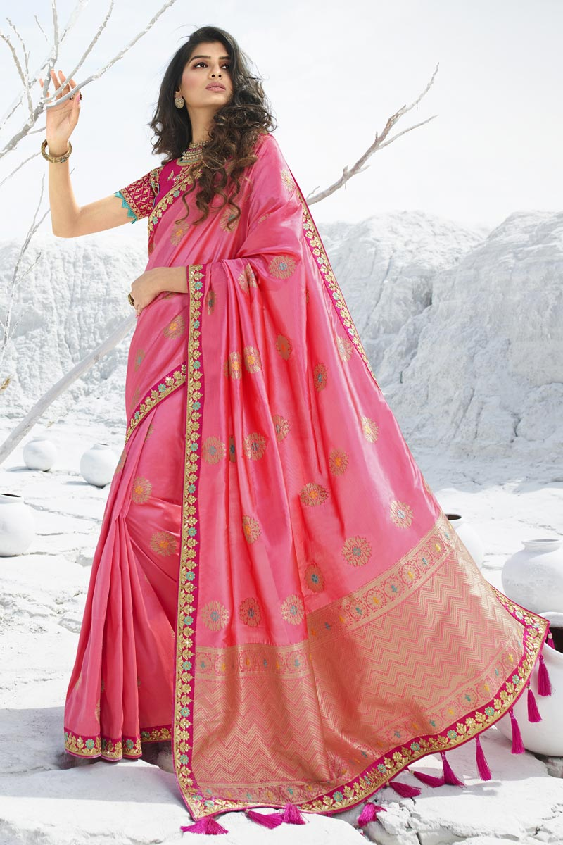 Pink Color Chic Sangeet Wear Art Silk Fabric Embroidered Saree