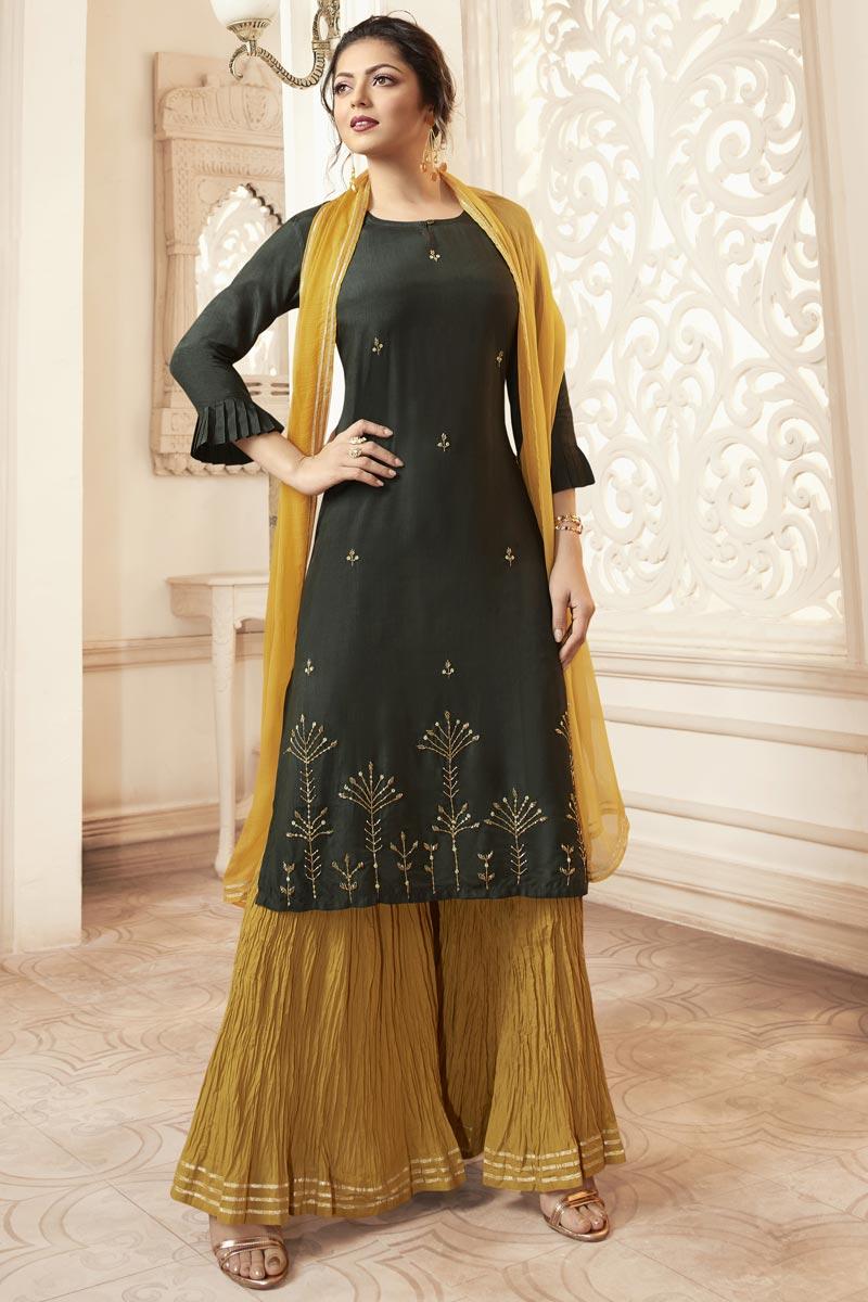 Drashti Dhami Dark Green Party Wear Viscose Fabric Embroidered Readymade Sharara Dress