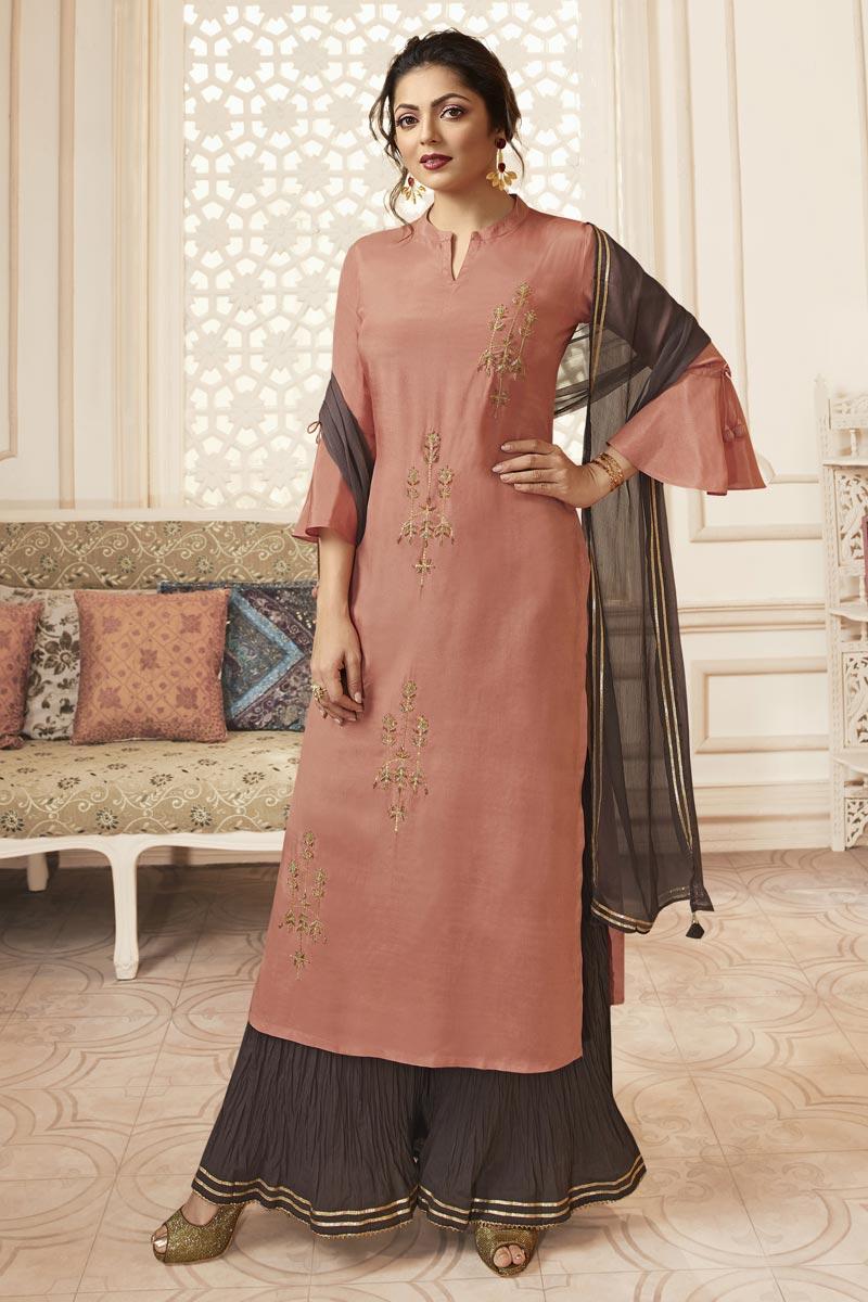 Drashti Dhami Peach Embroidered Party Wear Viscose Fabric Readymade Sharara Dress