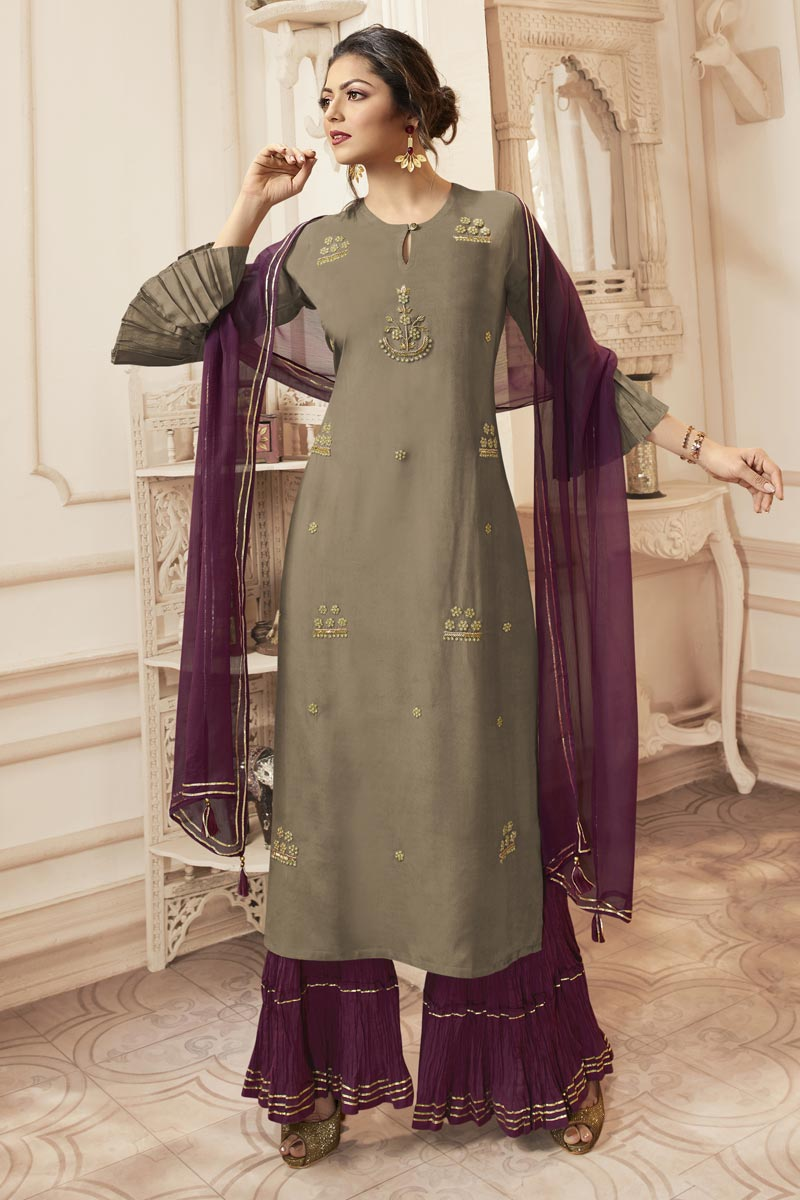 Drashti Dhami Party Wear Cream Embroidered Readymade Sharara Suit In Viscose Fabric