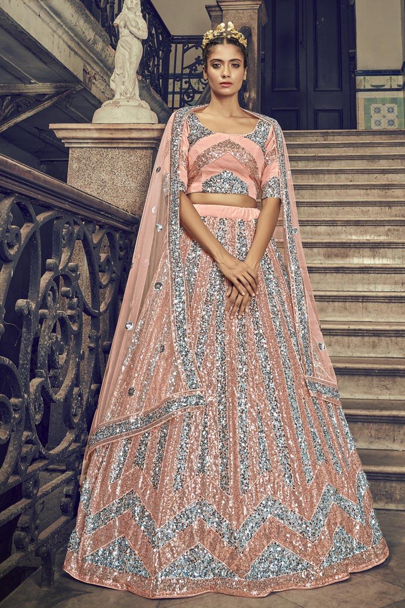 Peach Color Net Fabric Sangeet Wear Sequins Work Lehenga Choli