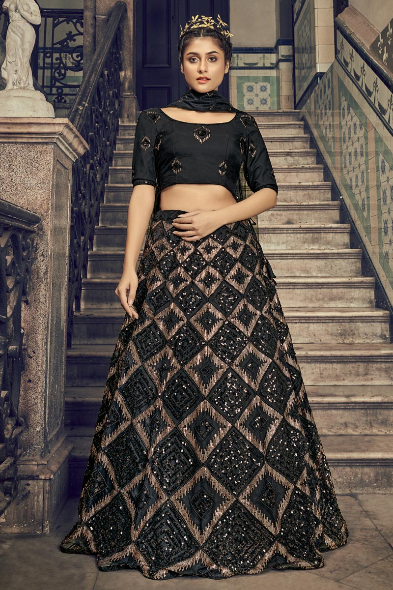 Net Fabric Black Color Wedding Wear Sequins Work Lehenga Choli
