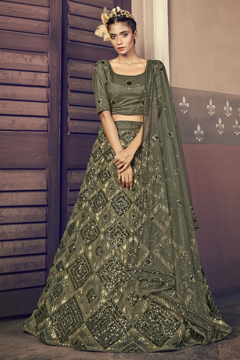 Sangeet Wear Net Fabric Sequins Work Olive Color Designer Lehenga Choli