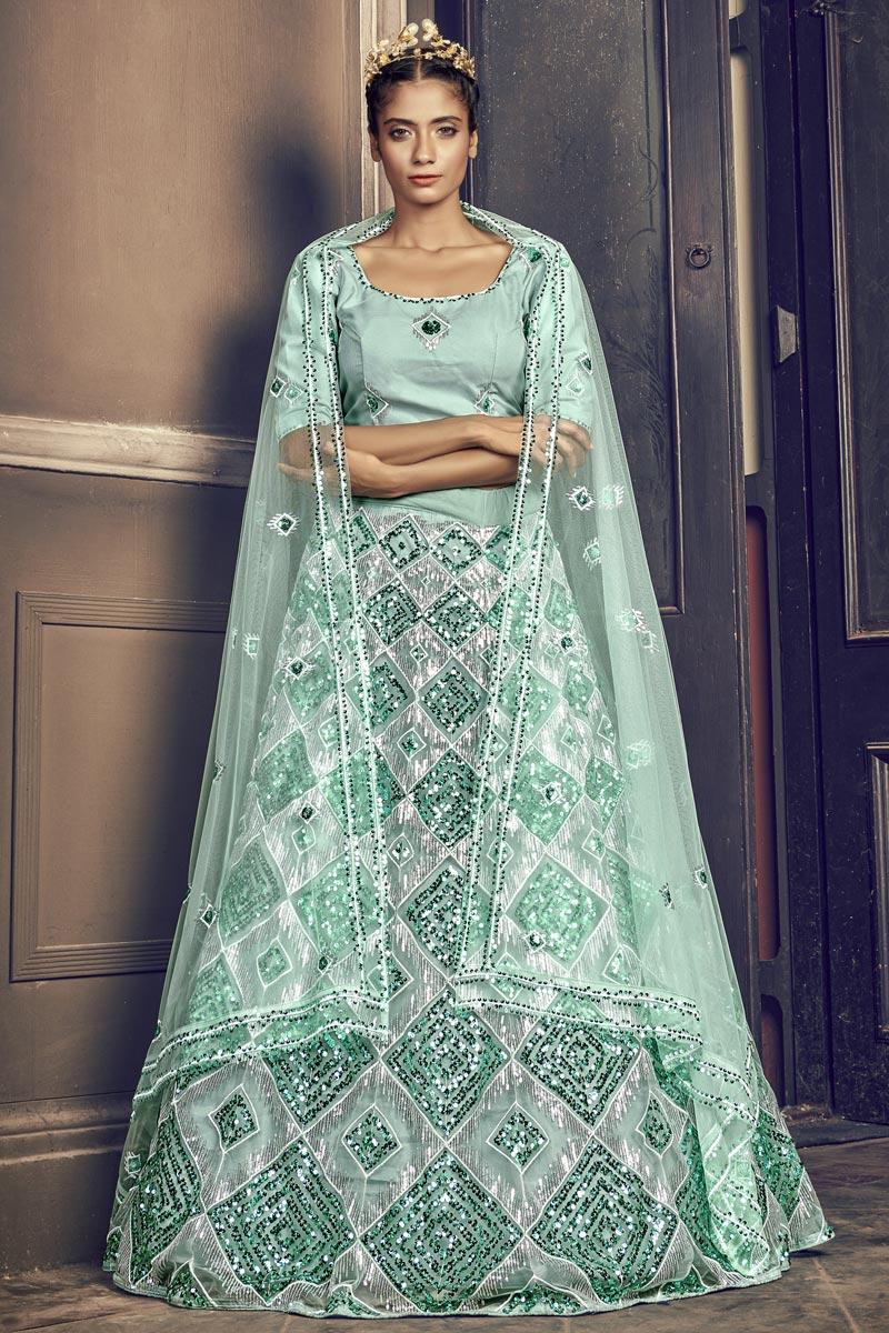 Wedding Wear Sequins Work Light Cyan Color Lehenga Choli In Net Fabric
