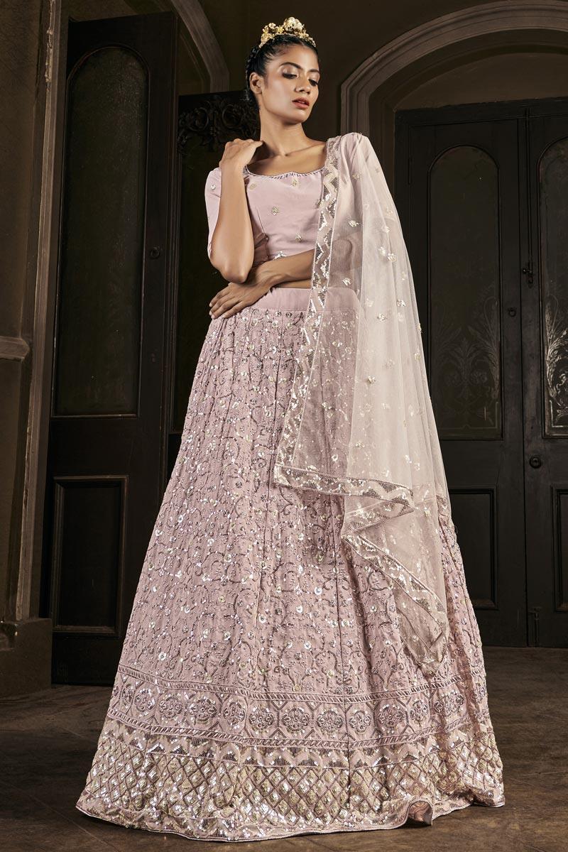 Pink Color Georgette Fabric Sangeet Wear Sequins Work Lehenga Choli