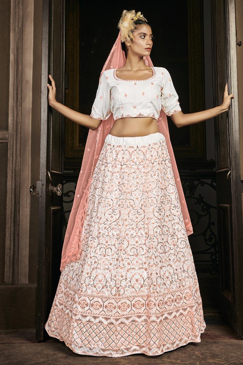 Georgette Fabric Off White Color Wedding Wear Sequins Work Lehenga Choli