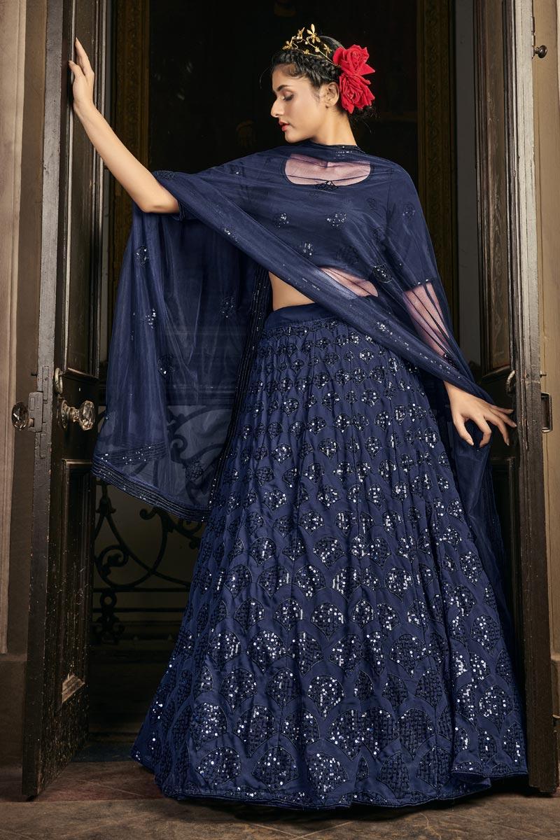 Navy Blue Color Reception Wear Georgette Fabric Sequins Work Lehenga Choli