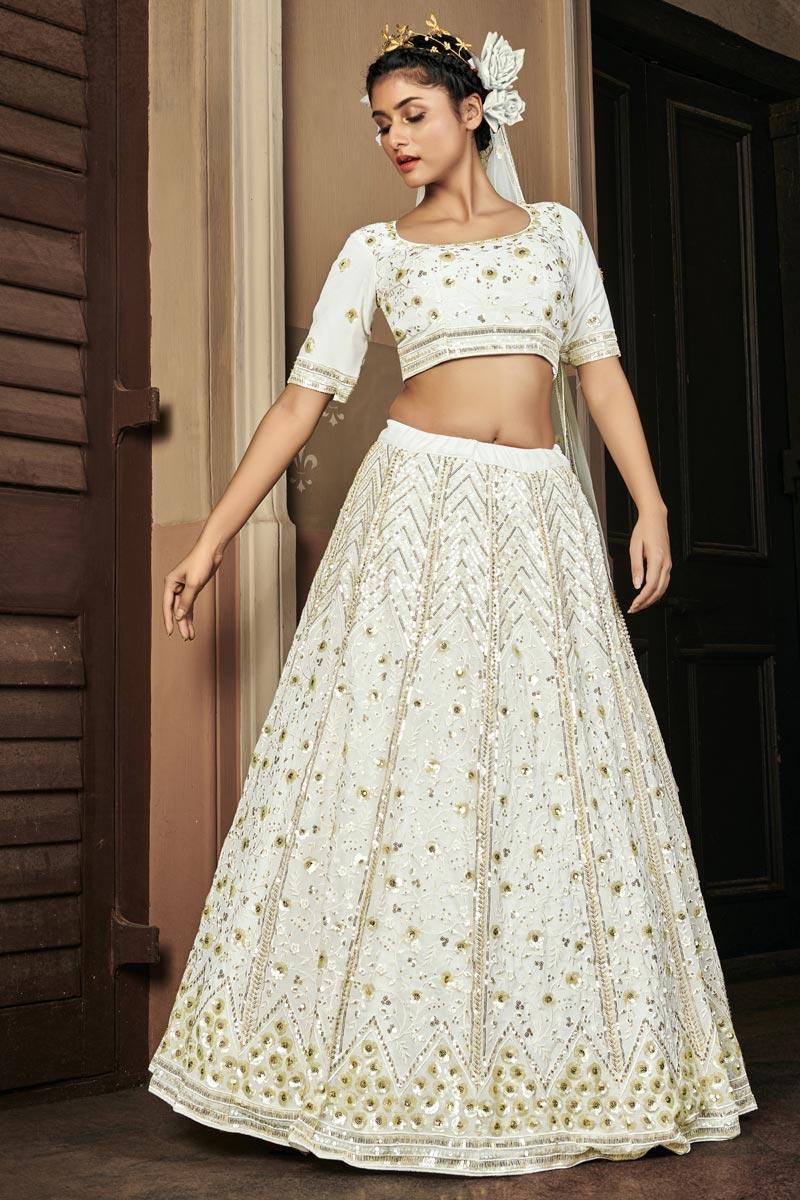 Wedding Wear Sequins Work Off White Color Lehenga Choli In Georgette Fabric