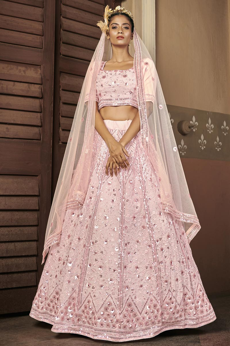 Georgette Fabric Reception Wear Sequins Work Lehenga Choli In Pink Color