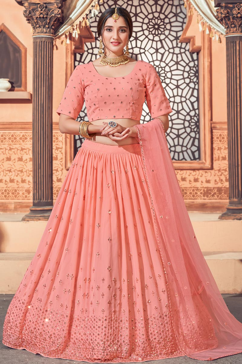 Wedding Wear Peach Color Sequins Work Lehenga Choli In Georgette Fabric