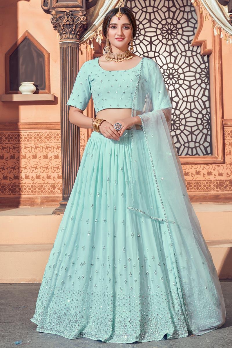 Georgette Fabric Wedding Wear Light Cyan Color Sequins Work Lehenga Choli