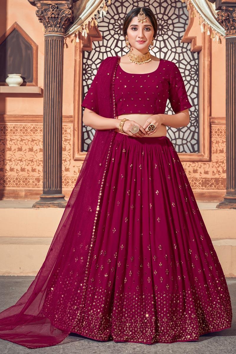Burgundy Color Sequins Work Wedding Wear Lehenga Choli In Georgette Fabric