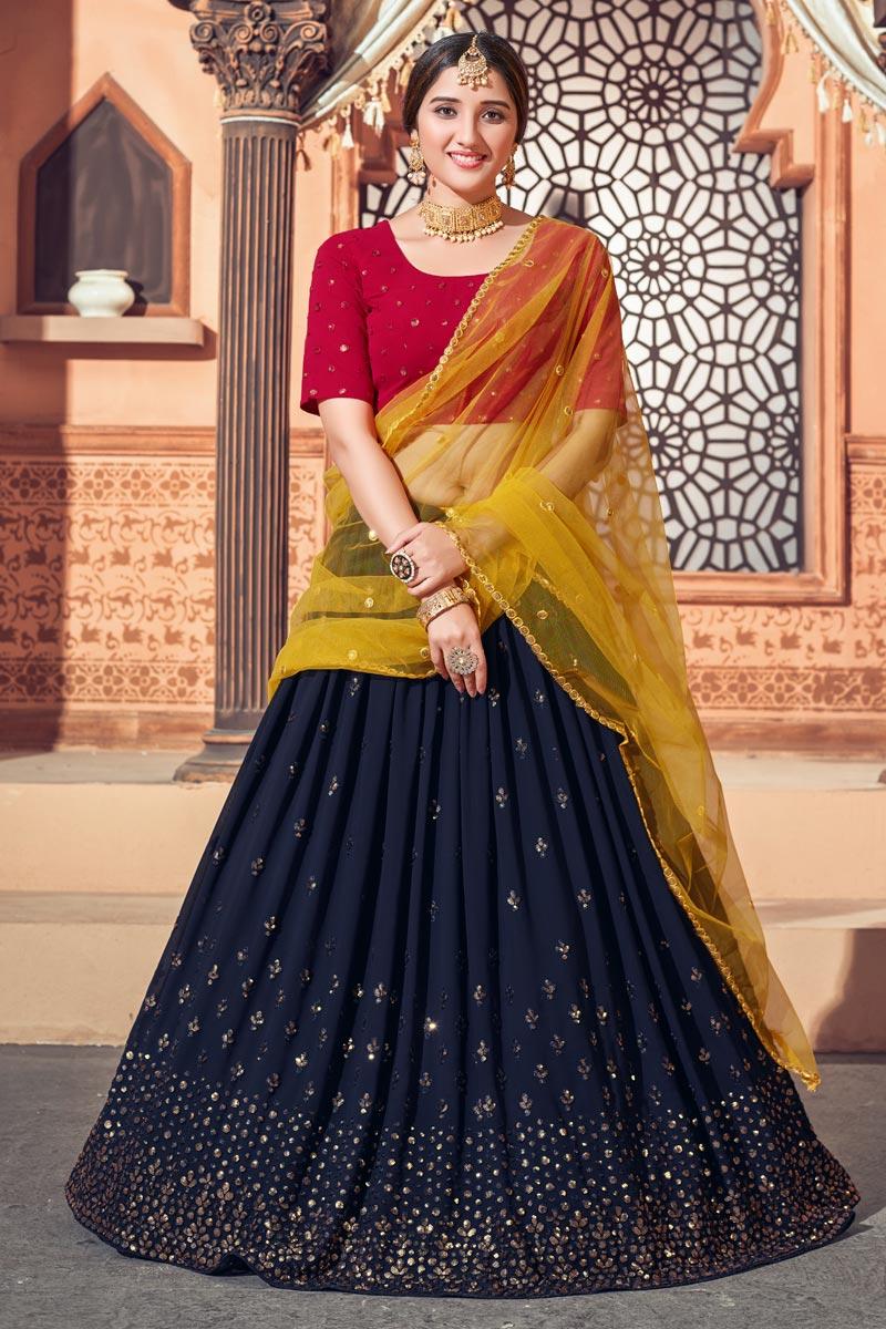 Wedding Wear Georgette Fabric Sequins Work Lehenga Choli In Navy Blue Color