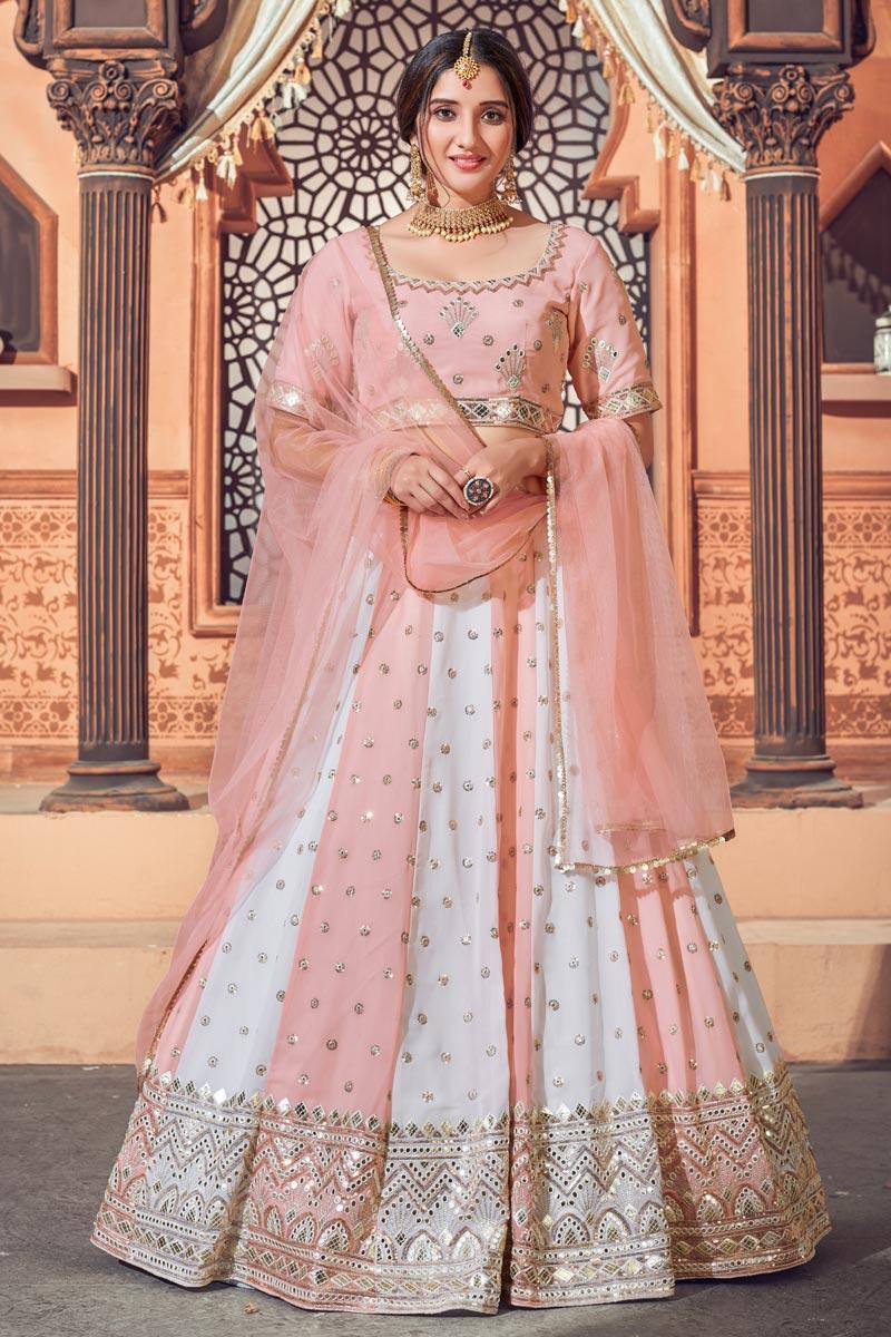 Wedding Wear Peach Color Georgette Fabric Sequins Work Lehenga Choli