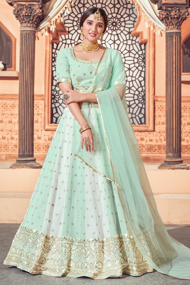 Sea Green Color Wedding Wear Georgette Fabric Sequins Work Lehenga Choli