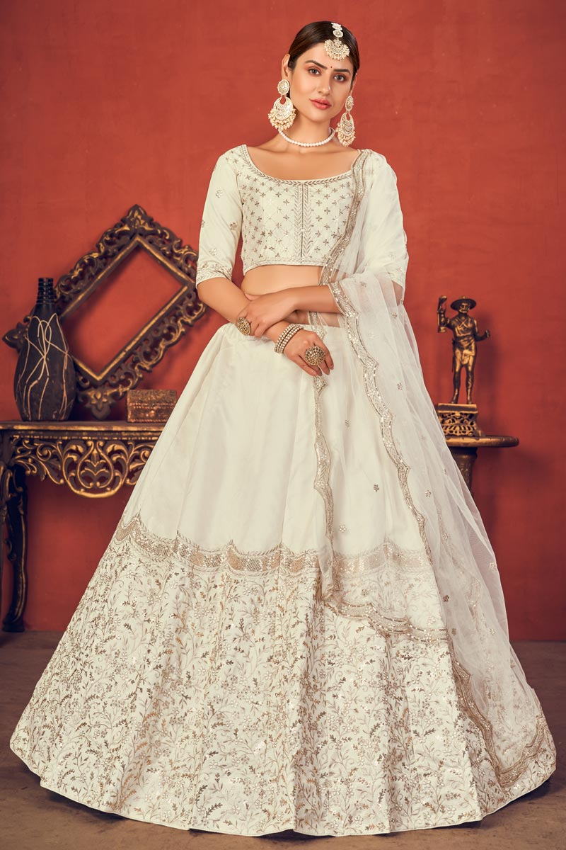 Wedding Wear Off White Color Embroidered Lehenga Choli In Art Silk Fabric