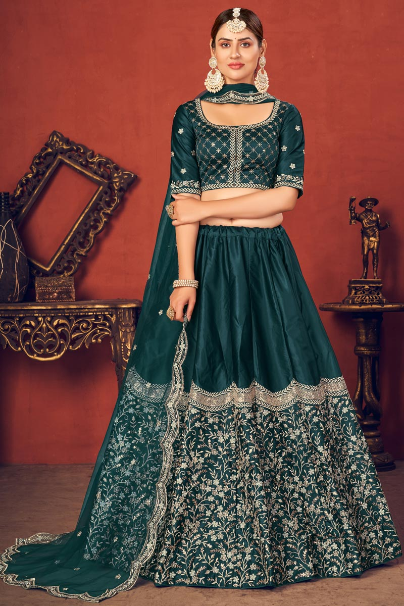 Teal Color Embroidered Wedding Wear Lehenga Choli In Art Silk Fabric