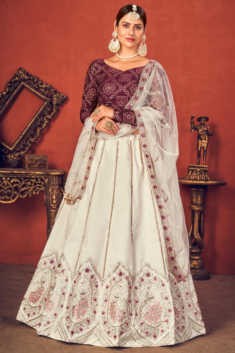 Wedding Wear Art Silk Fabric Embroidered Lehenga Choli In Off White Color