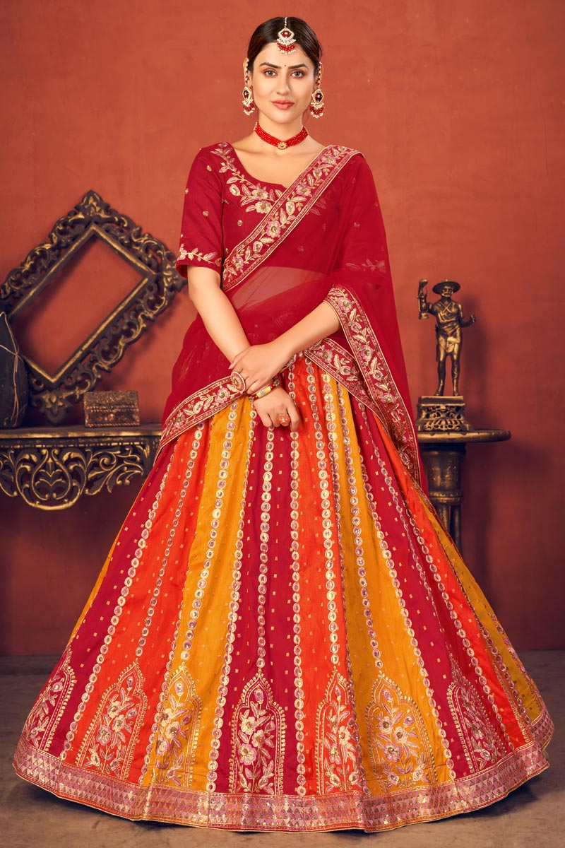 Wedding Wear Multi Color Art Silk Fabric Embroidered Lehenga Choli