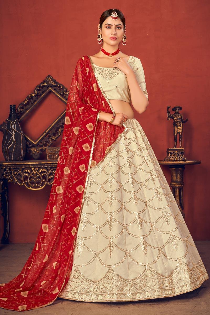 Beige Color Art Silk Fabric Fancy Embroidered Wedding Wear Lehenga Choli