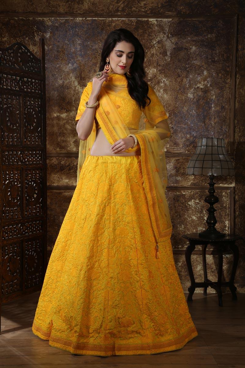 Yellow Art Silk Traditional Wear Designer Lehenga With Embroidery