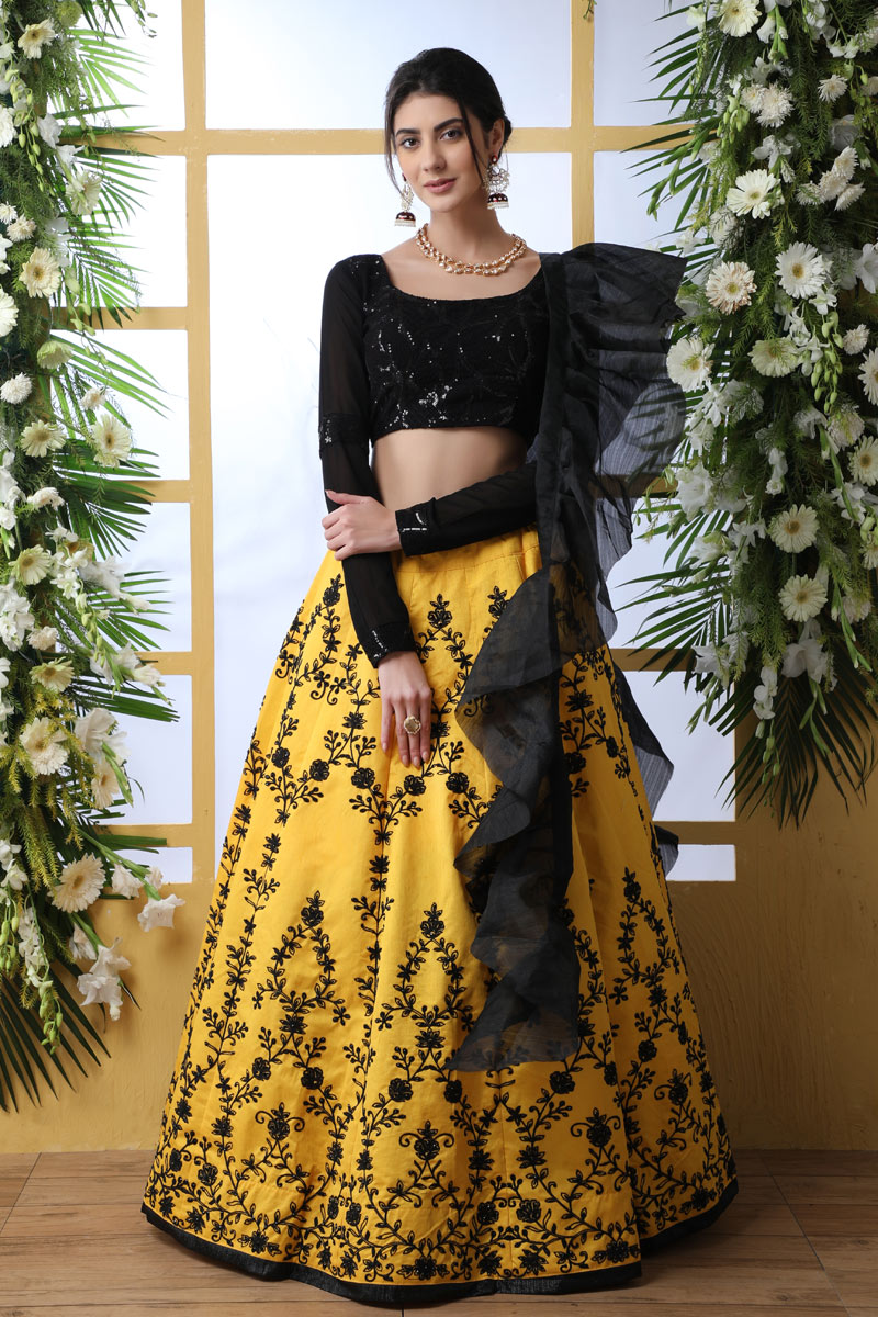 Eid Special Embroidered Yellow Color Bridal Lehenga In Art Silk Fabric With Designer Choli