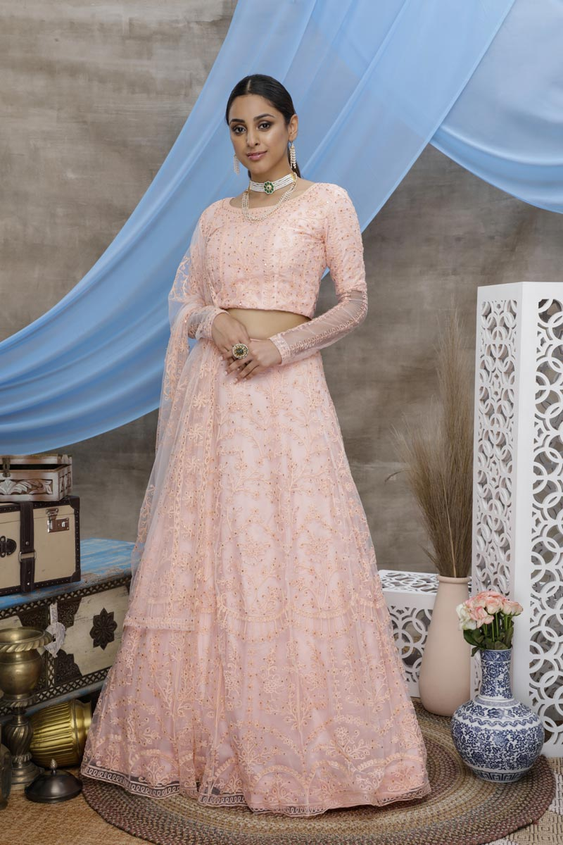 Peach Color Function Wear Thread Embroidered Lehenga In Net Fabric
