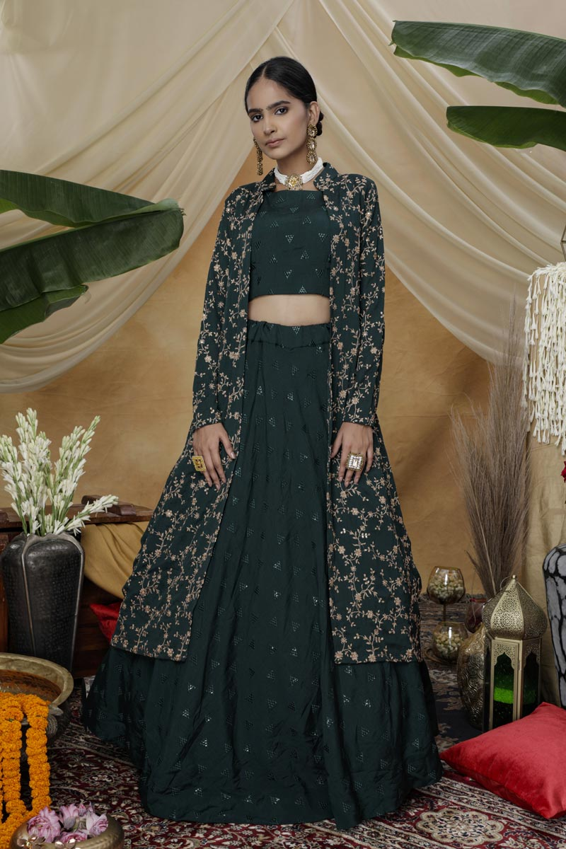 Dark Green Color Sangeet Wear Thread Embroidered Lehenga With Jacket In Chinon Fabric