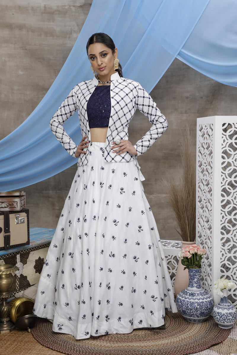 Thread Embroidered White Color Sangeet Wear Cotton Fabric Lehenga With Jacket