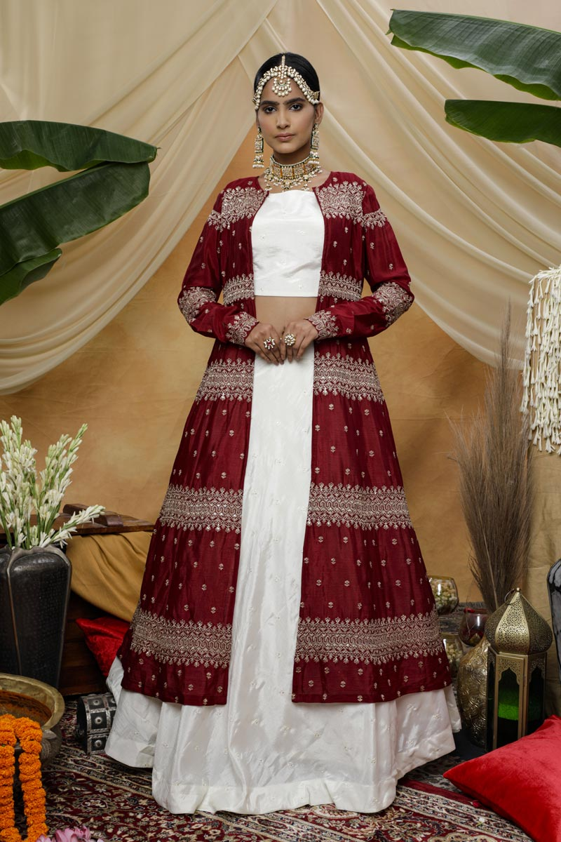 Sangeet Wear Chinon Fabric Thread Embroidered Lehenga With Jacket In White Color