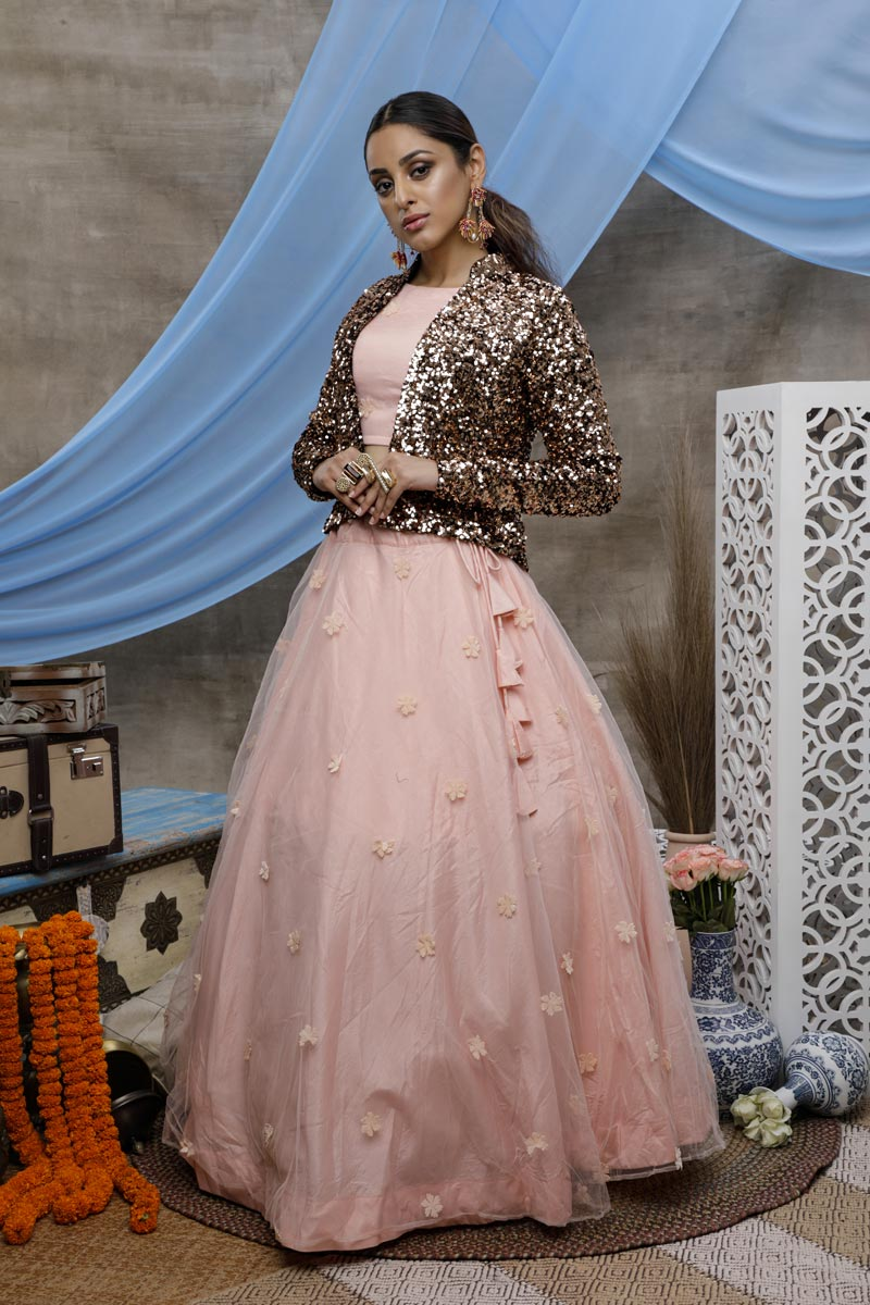 Sangeet Wear Net Fabric Thread Embroidered Pink Color Lehenga With Jacket