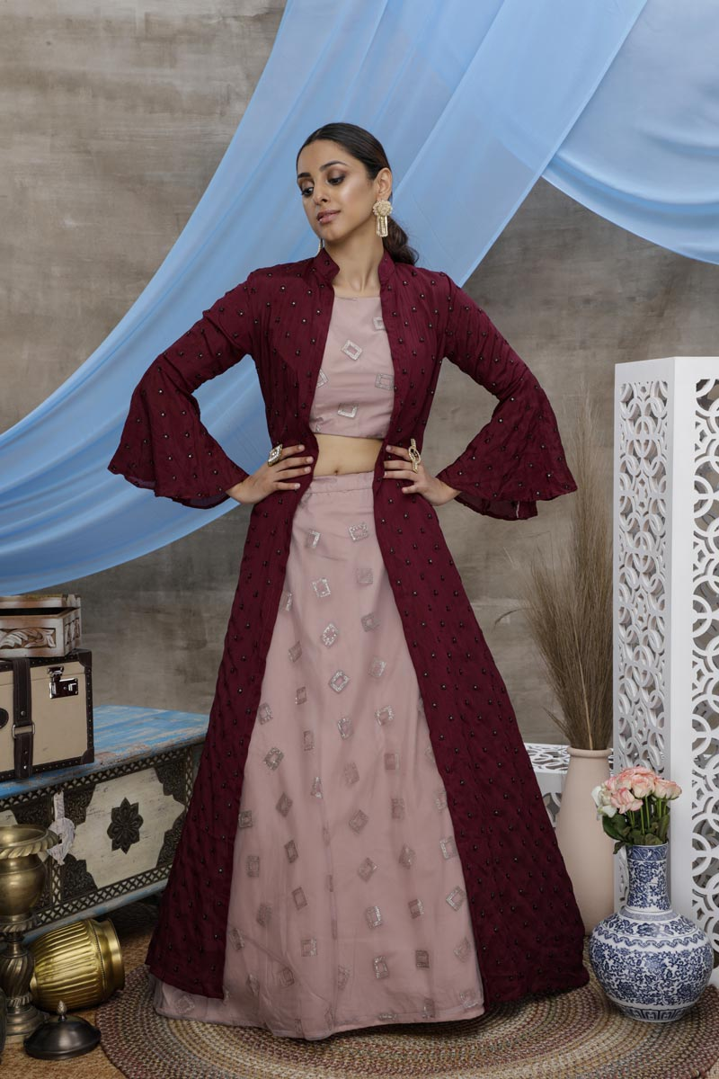 Sangeet Wear Pink Color Thread Embroidered Lehenga With Jacket In Net Fabric