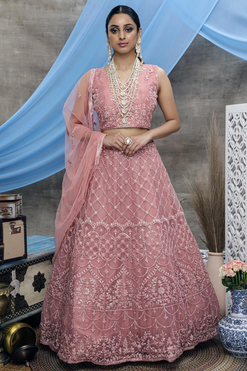 Pink Color Reception Wear Thread Embroidered Lehenga Choli In Net Fabric