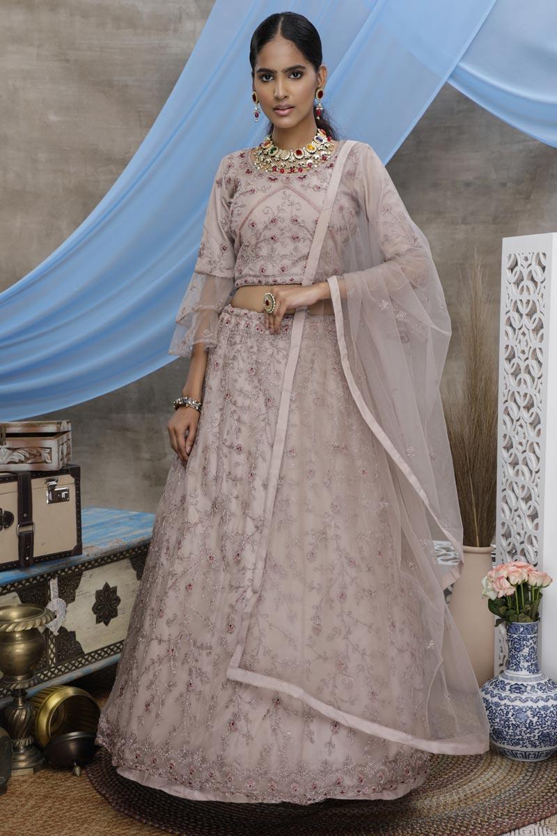 Lavender Color Reception Wear Net Fabric Thread Embroidered Lehenga Choli