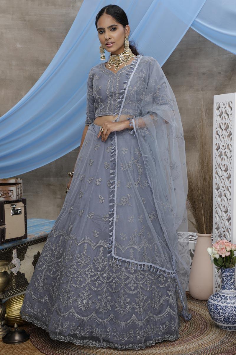 Reception Wear Net Fabric Thread Embroidered Grey Color Lehenga
