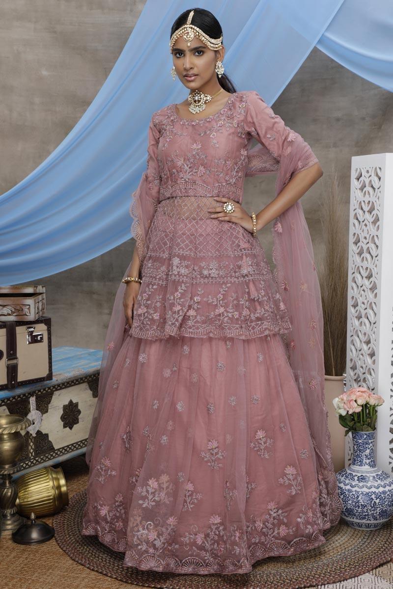 Peach Color Reception Wear Thread Embroidered Net Fabric Lehenga Choli