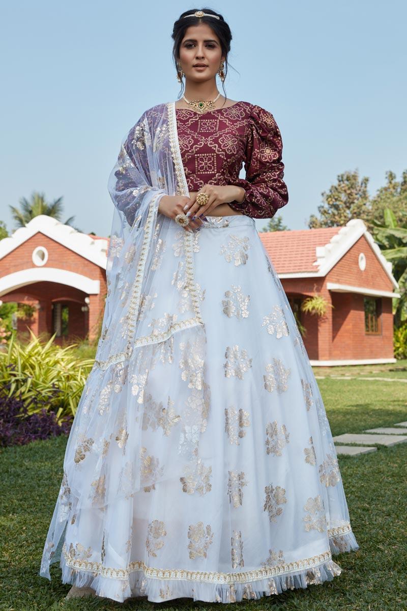 Net Fabric Off White Color Designer 3 Piece Lehenga Choli