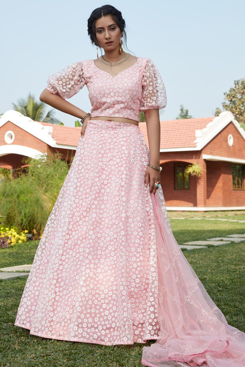 Net Fabric Pink Color Wedding Wear Lehenga Choli