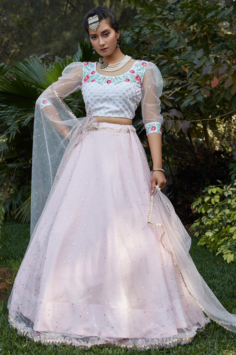 Pink Color Net Fabric Festive Wear Lehenga Choli