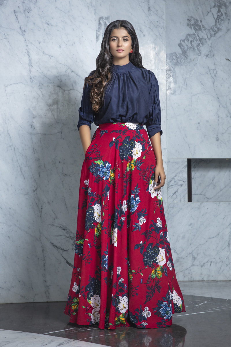 Exclusive Navy Blue Color Rayon Fabric Party Wear Indo Western Top And Printed Skirt
