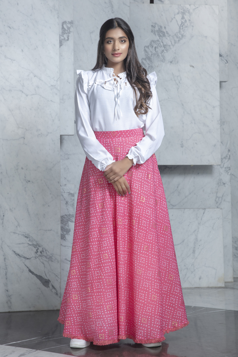 Exclusive White Color Cotton Fabric Party Wear Indo Western Top And Printed Skirt