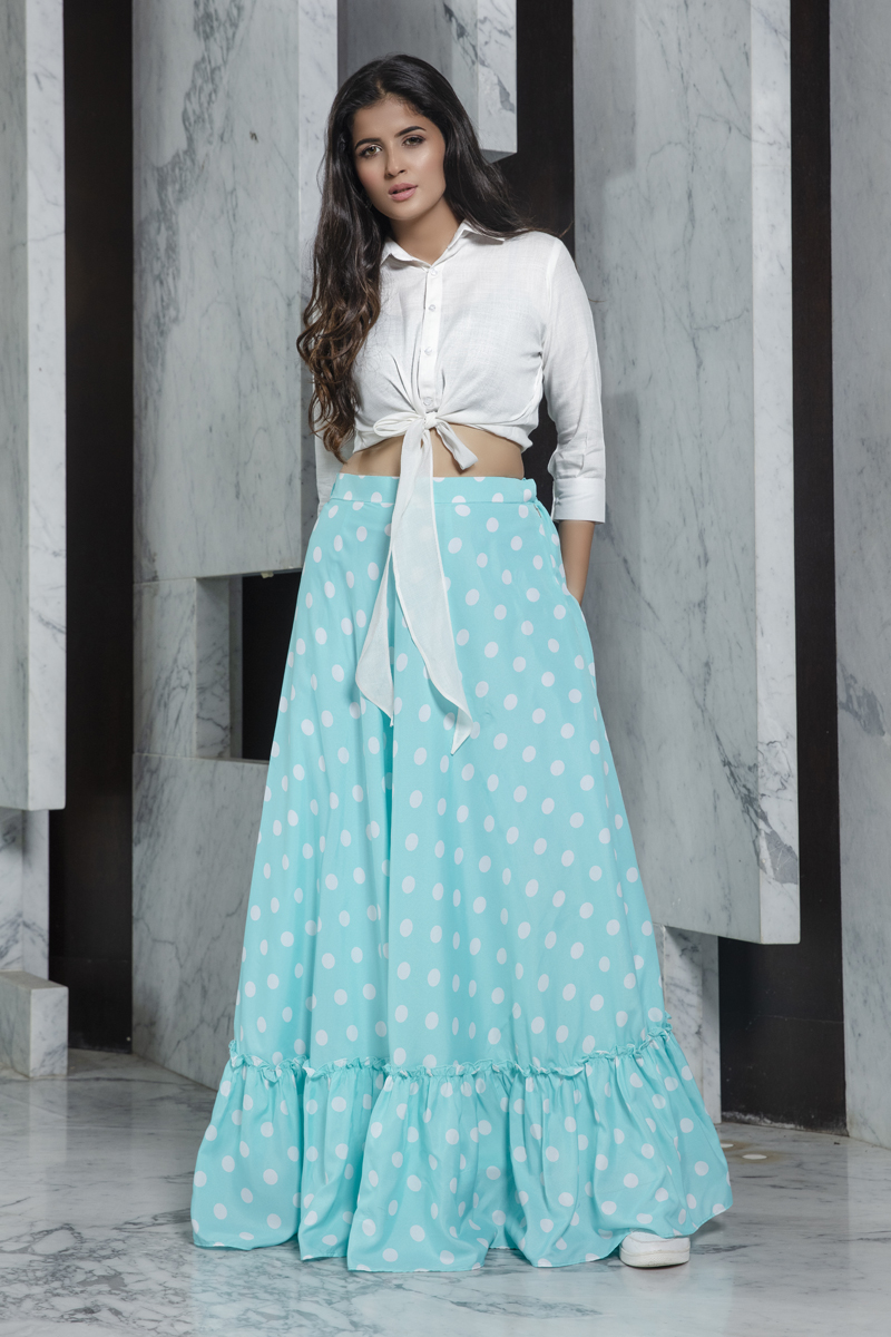 Exclusive White Color Rayon Fabric Party Wear Indo Western Top And Printed Skirt