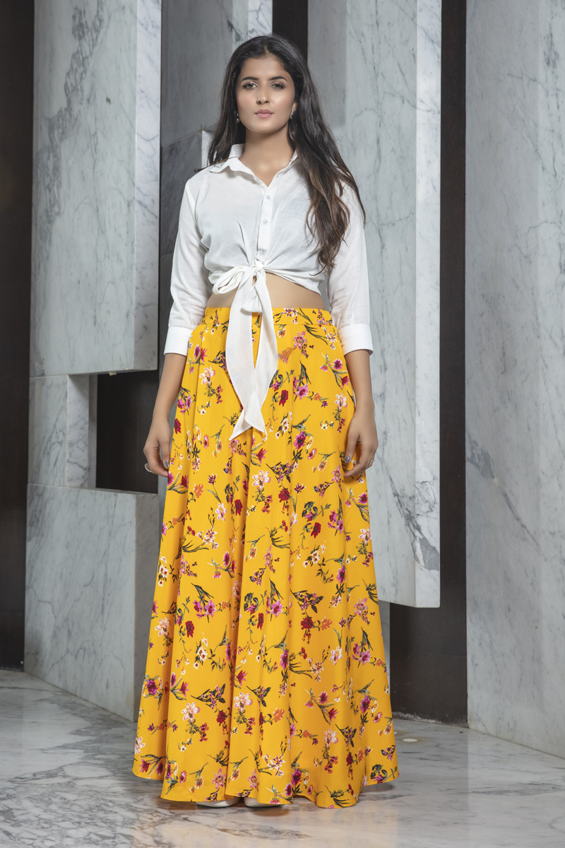 Exclusive White Color Rayon Fabric Indo Western Top And Printed Skirt