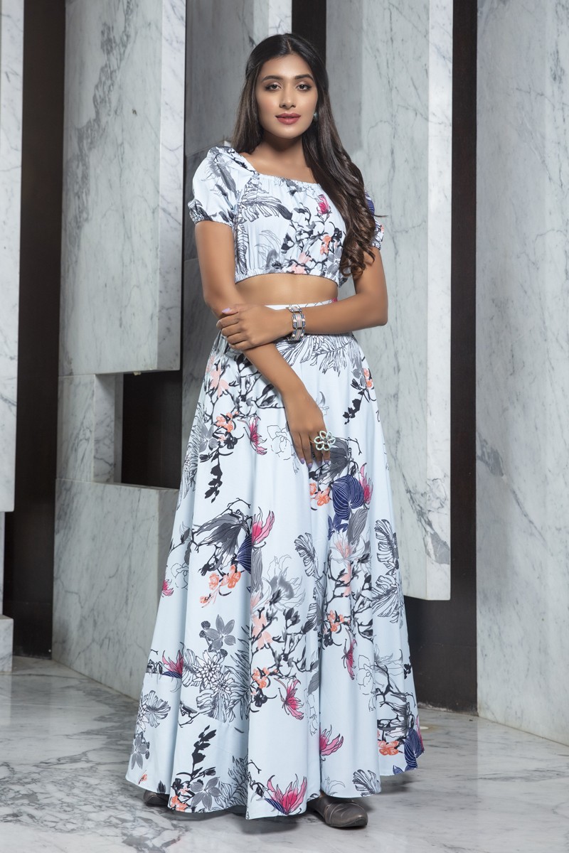 Exclusive White Color Crepe Fabric Party Wear Indo Western Top And Printed Skirt