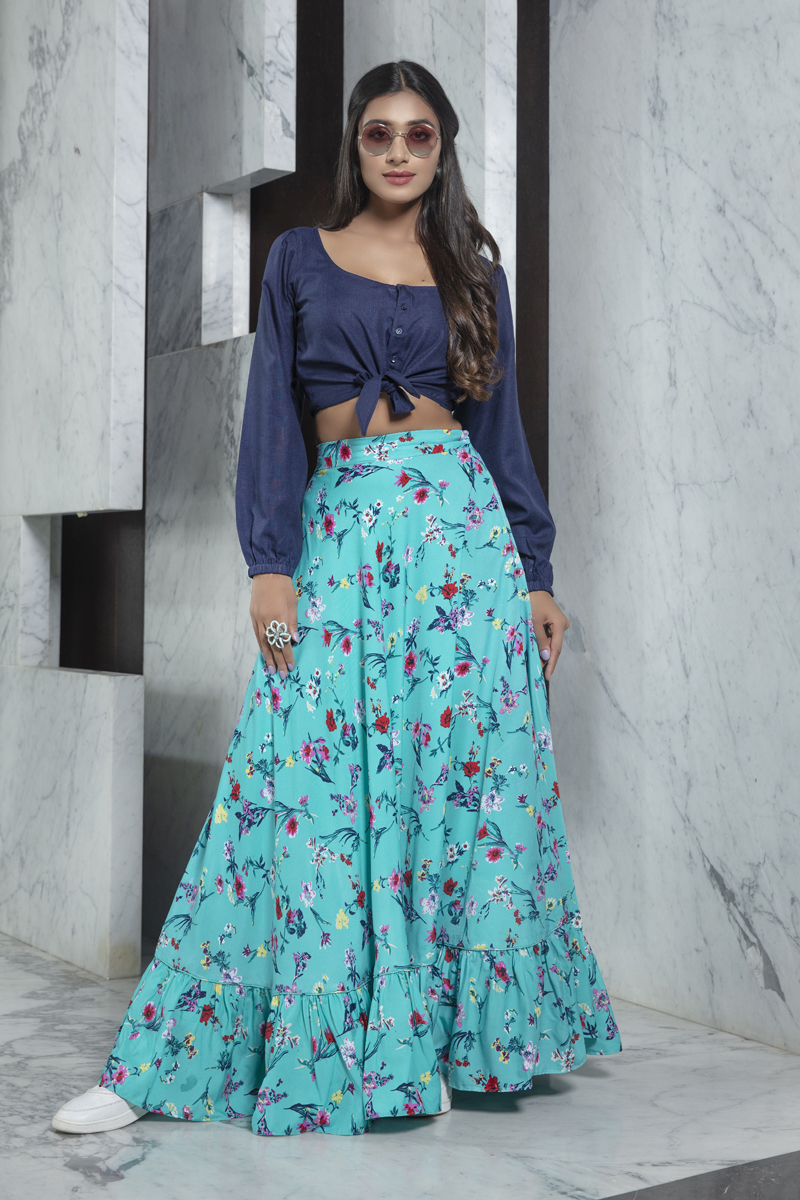 Exclusive Navy Blue Color Rayon Party Wear Indo Western Top And Printed Skirt