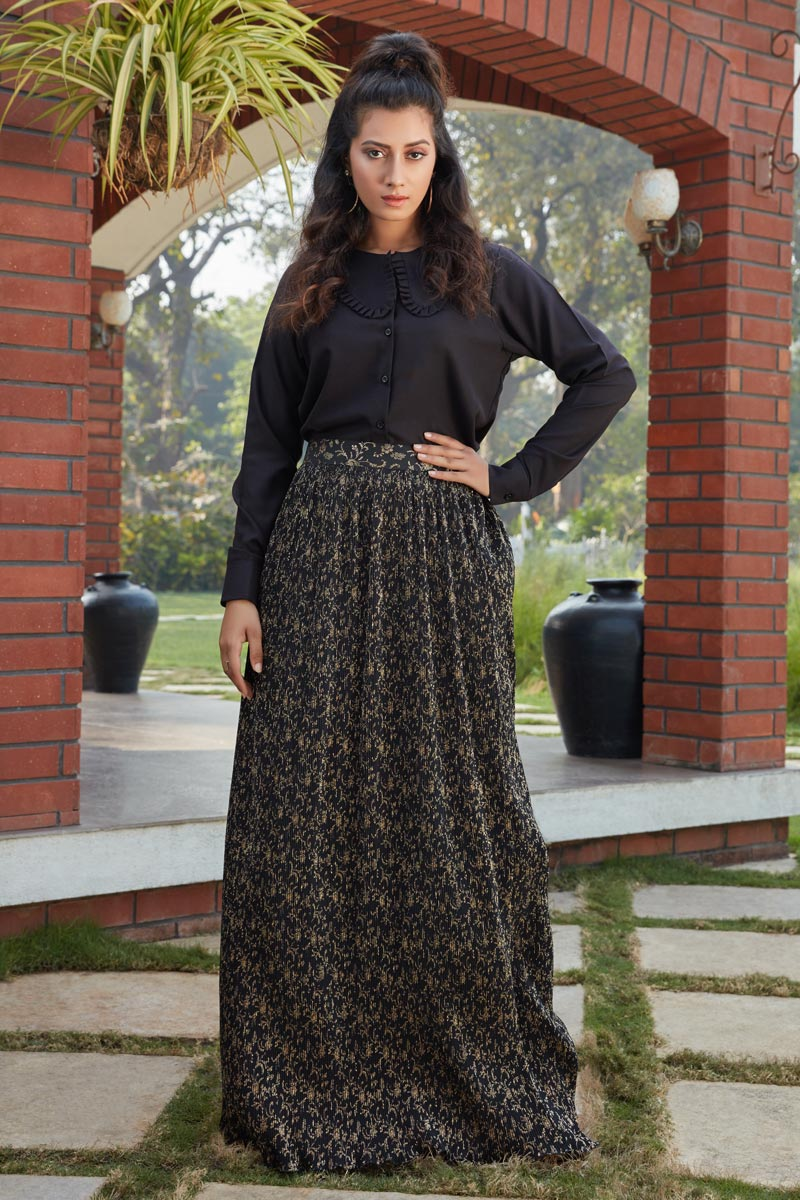 Exclusive Black Color Fancy Fabric Party Wear Indo Western Top And Printed Skirt